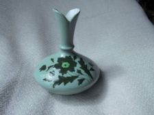 ANTIQUE VICTORIAN BUD VASE WHITE LINED OPAQUE PALE GREEN HANDPAINTED GREEN
